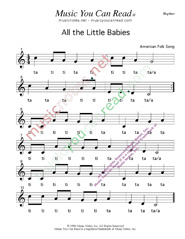 Click to Enlarge: All the Little Babies Rhythm Format