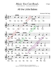 Click to Enlarge: All the Little Babies Solfeggio Format