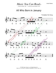 Click to Enlarge: All Who Born in January Letter Names Format