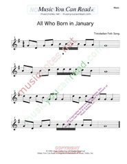 Click to enlarge: All Who Born in January Music Format