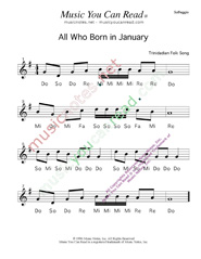 Click to Enlarge: All Who Born in January Solfeggio Format