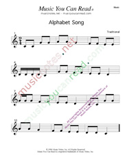 Click to enlarge: Alphabet Song  Music Format