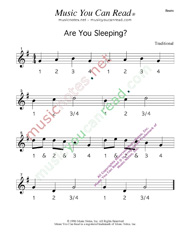 Click to enlarge: Are You Sleeping  Beats Format