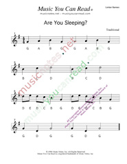 Click to Enlarge: Are You Sleeping Letter Names Format