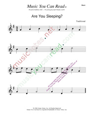 Click to enlarge: Are You Sleeping  Music Format