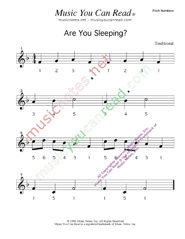 Click to Enlarge: Are You Sleeping  Pitch Number Format