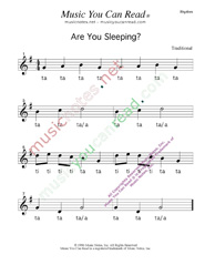 Click to Enlarge: Click to enlarge: Are You Sleeping  Rhythm Format