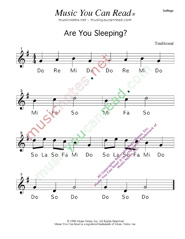 Click to Enlarge: Are You Sleeping Solfeggio Format