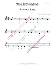 Click to Enlarge: Barnyard Song Letter Names Format