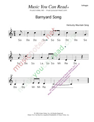 Click to Enlarge: Barnyard Song  Solfeggio Format