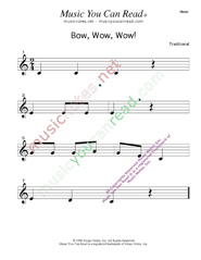 Click to enlarge: Bow, Wow, Wow!  Music Format