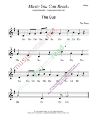"Click to Enlarge: ""The Bus""  Solfeggio Format"
