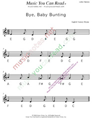 "Click to Enlarge: ""Bye, Baby Bunting"" Letter Names Format"