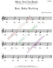 "Click to Enlarge: ""Bye, Baby Bunting"" Solfeggio Format"
