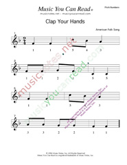 "Click to Enlarge: ""Clap Your Hands"" Pitch Number Format"