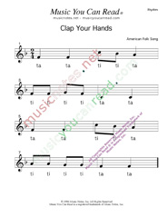 "Click to Enlarge: ""Clap Your Hands"" Rhythm Format"