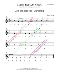 "Click to Enlarge: ""Deedle, Deedle, Dumpling"" Pitch Number Format"