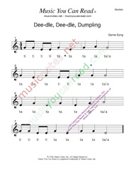 "Click to Enlarge: ""Deedle, Deedle, Dumpling"" Rhythm Format"