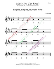"Click to enlarge: ""Engine, Engine, Number Nine"" Beats Format"