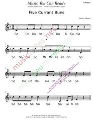 "Click to Enlarge: ""Five Currant Buns"" Solfeggio Format"