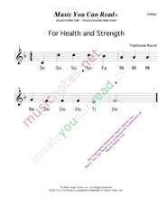 "Click to Enlarge: ""For Health and Strength"" Solfeggio Format"