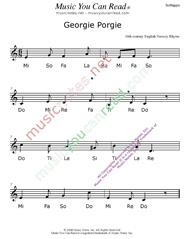"Click to Enlarge: ""Georgie Porgie"" Solfeggio Format"