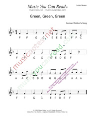 "Click to Enlarge: ""Green, Green, Green"" Letter Names Format"