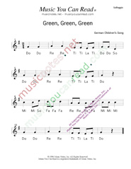 "Click to Enlarge: ""Green, Green, Green"" Solfeggio Format"