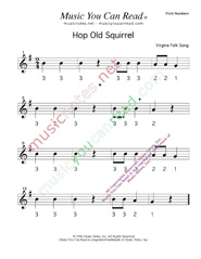 "Click to Enlarge: ""Hop Old Squirrel"" Pitch Number Format"