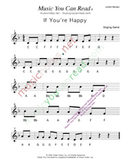 "Click to Enlarge: ""If You're Happy"" Letter Names Format"