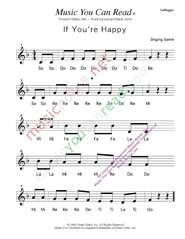 "Click to Enlarge: ""If You're Happy"" Solfeggio Format"