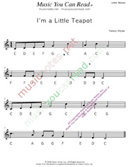 "Click to Enlarge: ""I'm a Little Teapot"" Letter Names Format"