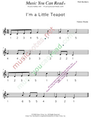 "Click to Enlarge: ""I'm a Little Teapot"" Pitch Number Format"