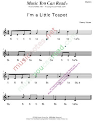 "Click to ""I'm a Little Teapot"" Rhythm Format"
