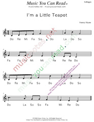 "Click to Enlarge: ""I'm a Little Teapot"" Solfeggio Format"