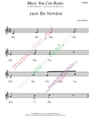"Click to Enlarge: ""Jack Be Nimble"" Solfeggio Format"