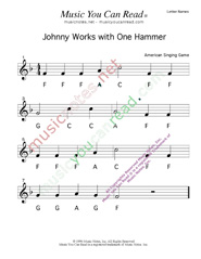 "Click to Enlarge: ""Johnny Works with One Hammer"" Letter Names Format"