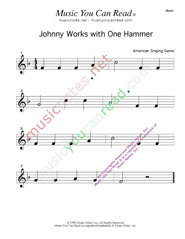 """Johnny Works with One Hammer"" Music Format"