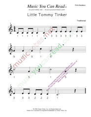 "Click to Enlarge: ""Little Tommy Tinker"" Pitch Number Format"
