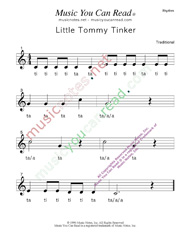 "Click to Enlarge: ""Little Tommy Tinker"" Rhythm Format"