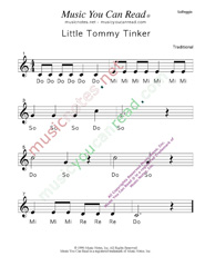 "Click to Enlarge: ""Little Tommy Tinker"" Solfeggio Format"