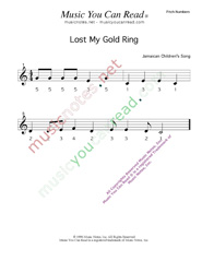 "Click to Enlarge: ""Lost My Gold Ring"" Pitch Number Format"