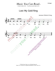 "Click to Enlarge: ""Lost My Gold Ring"" Solfeggio Format"
