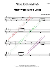 """Mary Wore a Red Dress"" Music Format"