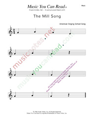 """The Mill Song"" Music Format"