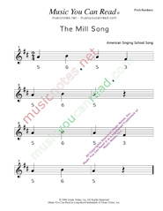 "Click to Enlarge: ""The Mill Song"" Pitch Number Format"