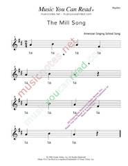 "Click to Enlarge: ""The Mill Song"" Rhythm Format"