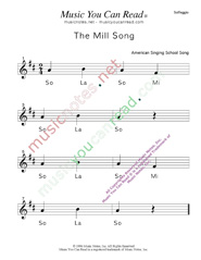 "Click to Enlarge: ""The Mill Song"" Solfeggio Format"