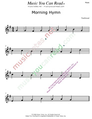 """Morning Hymn"" Music Format"