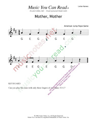 "Click to Enlarge: ""Mother, Mother"" Letter Names Format"